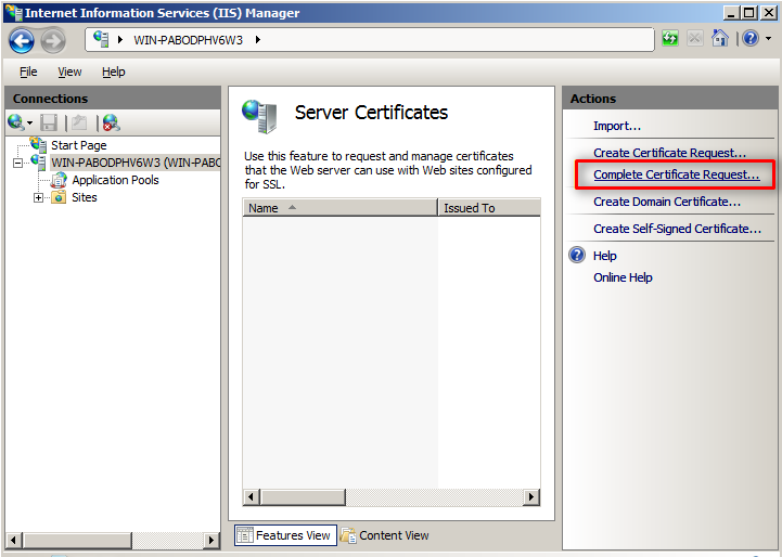 Windows Server 2008 - IIS 7 and 7.5 - SSL Installation