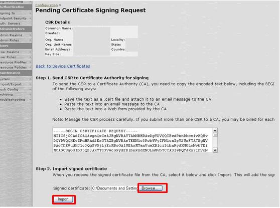 SSL certificate Installation Instructions for Juniper