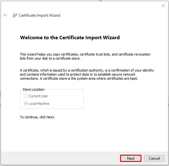 MMC certificate import