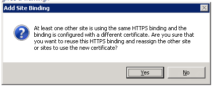 Troubleshooting: At least one other site is using Https binding and