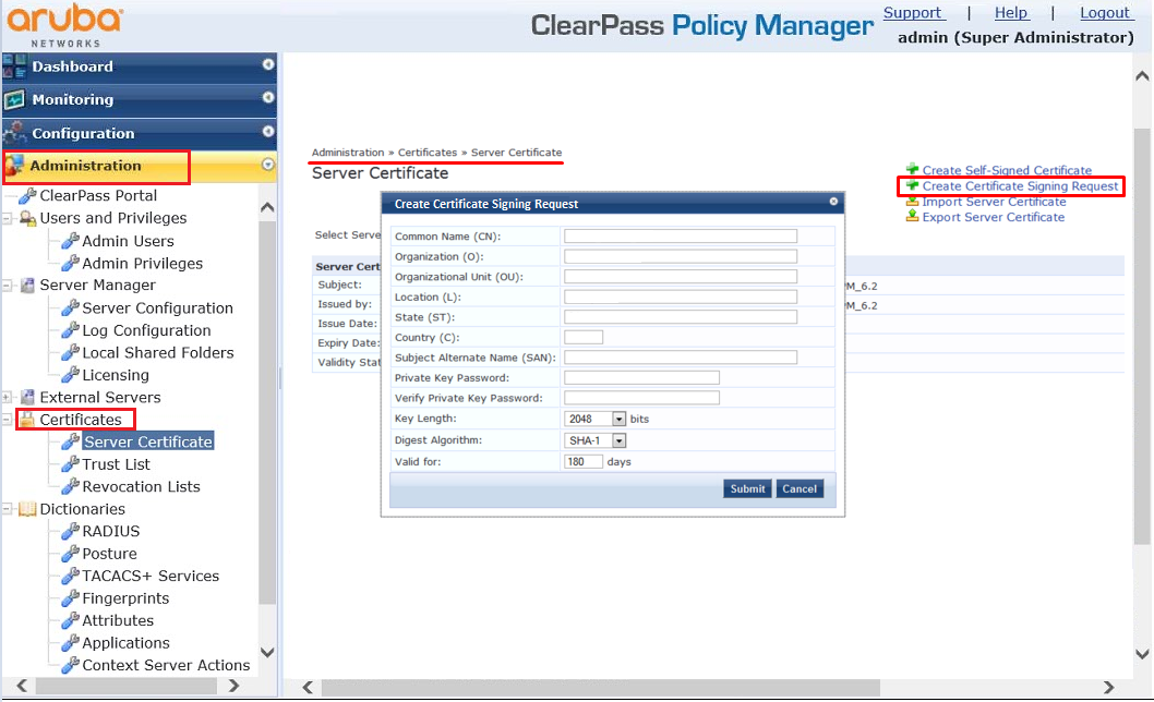 Aruba ClearPass - CSR Instructions -