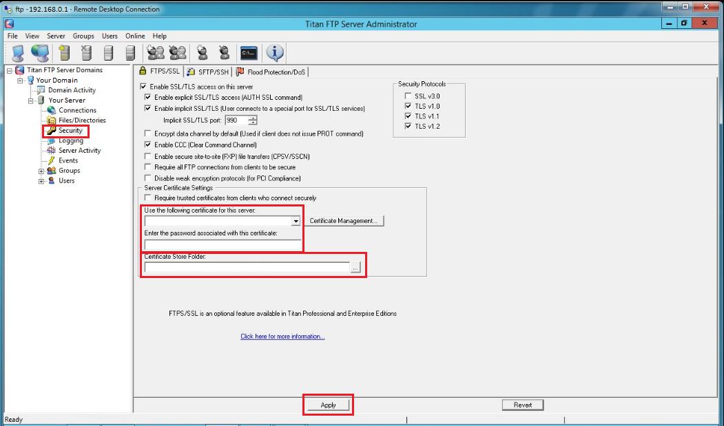 Titan FTP Server full screenshot