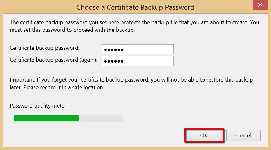 Firefox Certificate Password