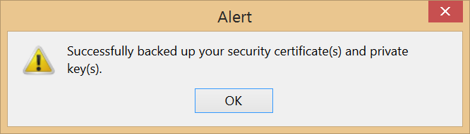Firefox cert successfully backed-up