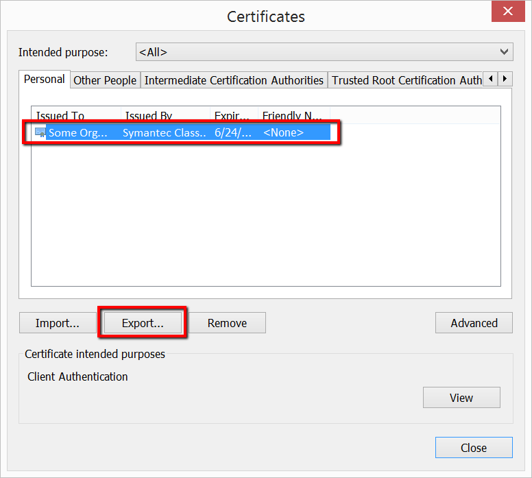 IE certificate Export