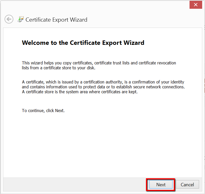 IE export Wizard