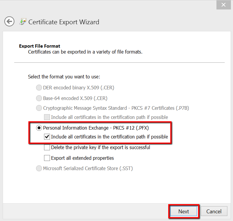 IE export backup certificate wizard