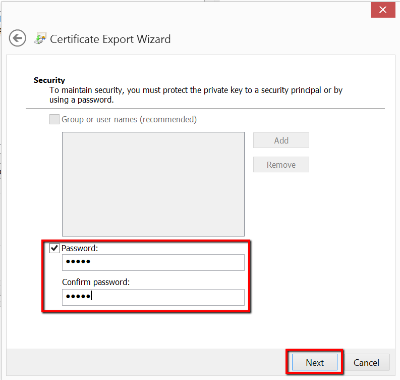 IE certificate export wizard