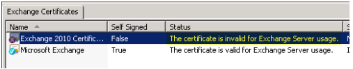 The certificate is invalid for exchange server usage