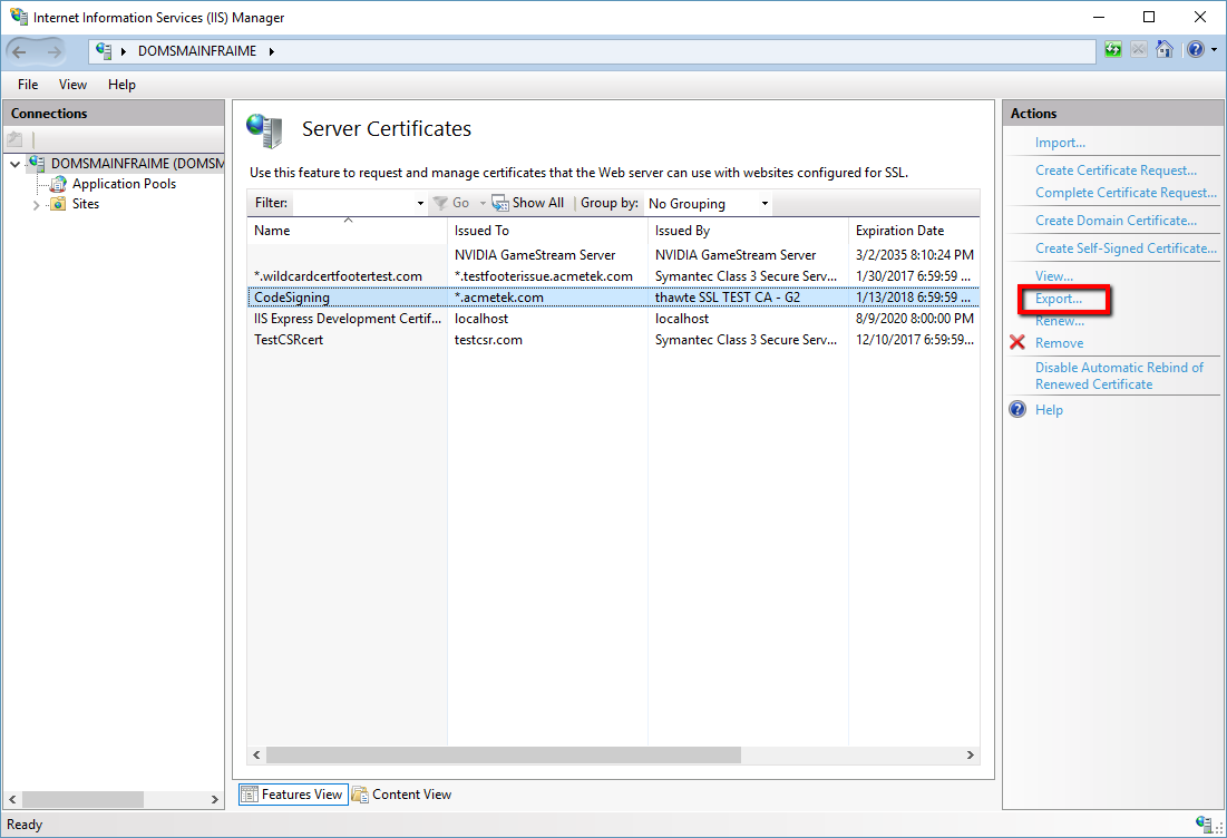 How To Export A Certificate From Internet Information Services Iis
