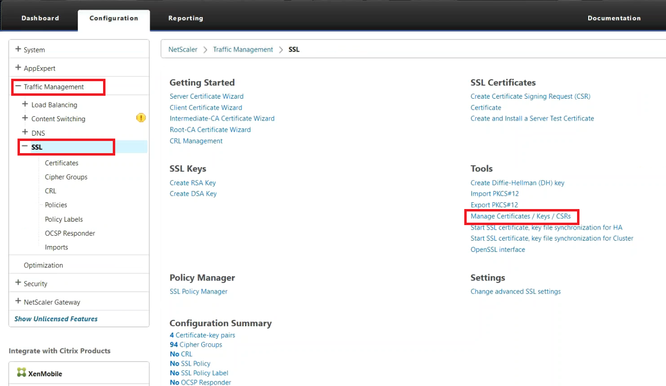 Netscaler Manage Certificates