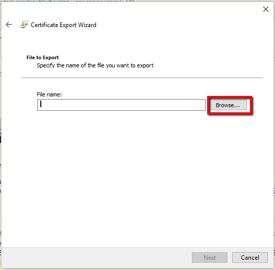 Certificate Export Wizard Browse