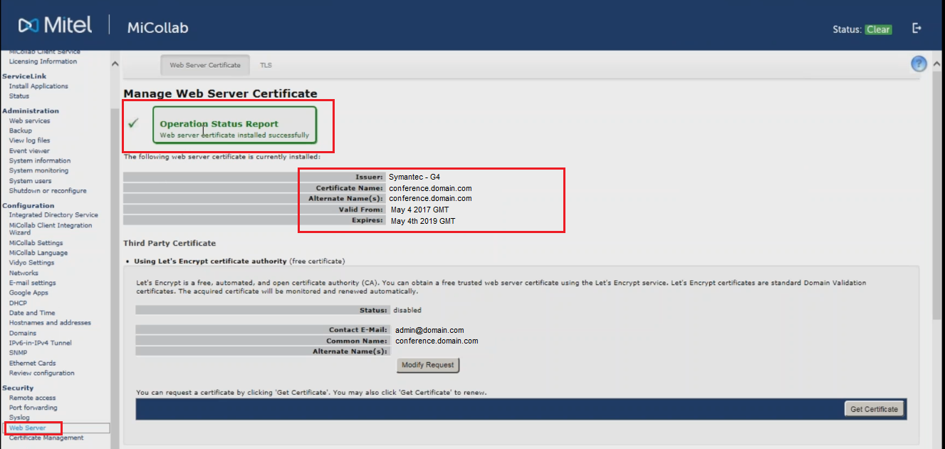 How to move ssl ceritifcate from windows to mitel micollab msl check your ssl web server certificate information it should be the latest certificate you have installed issued by your certificate authority xflitez Choice Image