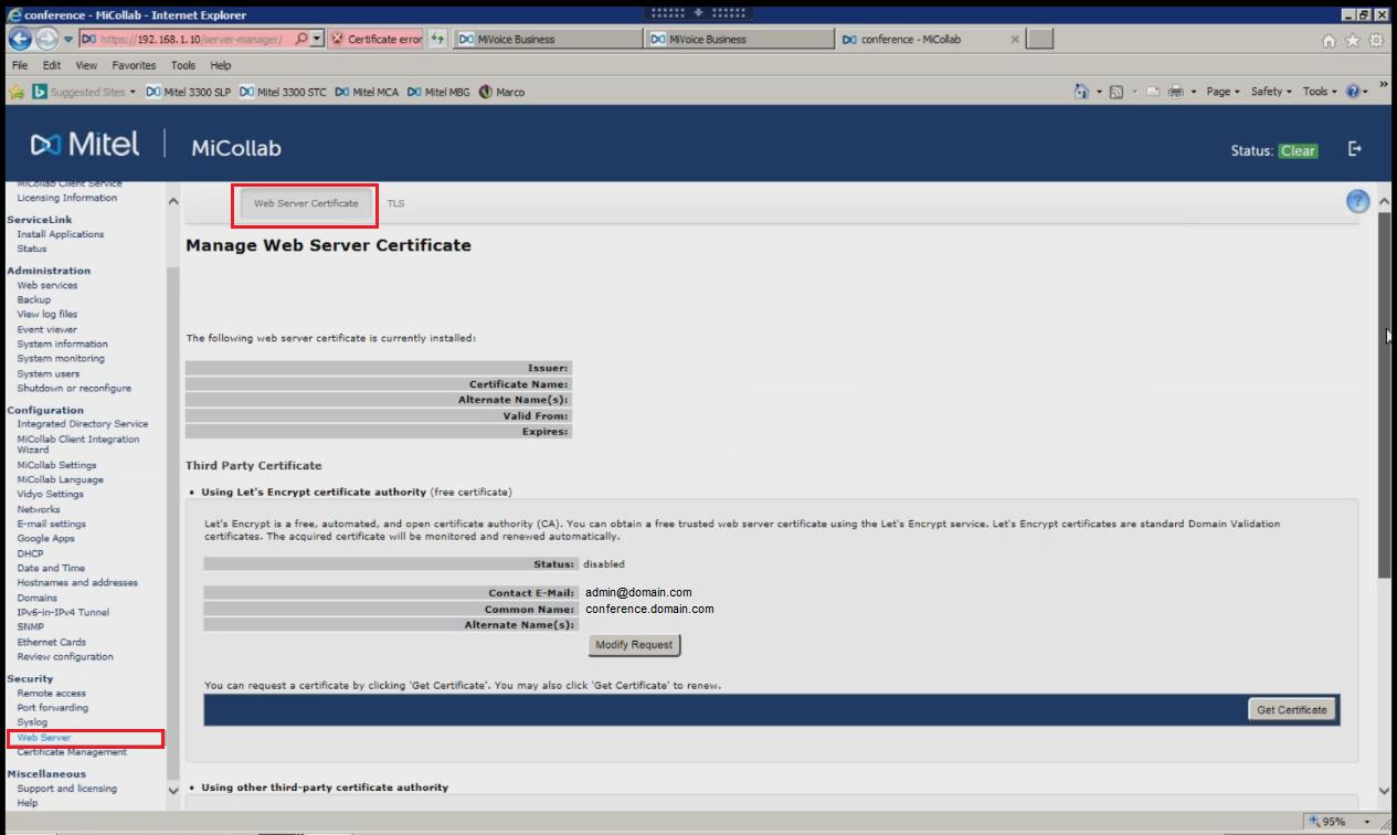 Mitel Web Server Certificate Ssl Support Desk