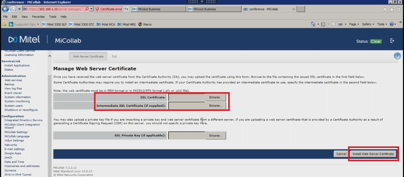 Mitel MiCollab MSL Server - SSL Installation -