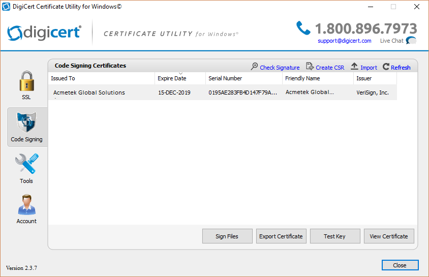 Digicert Certificate Utility - Code Signing (Importing a Code ...