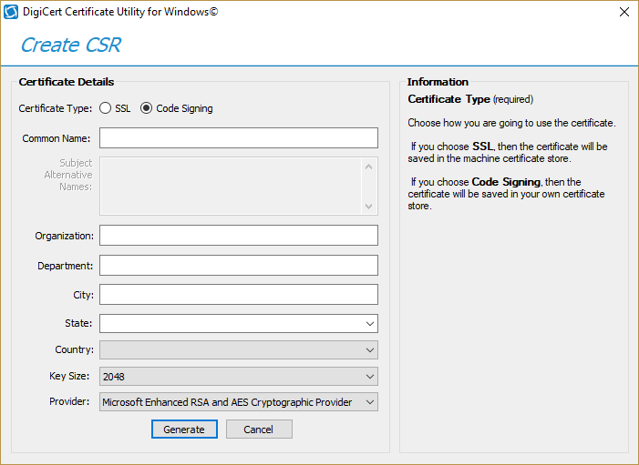 Digicert certificate utility code signing csr generation when everything is filled and looking pretty click generate yadclub Image collections