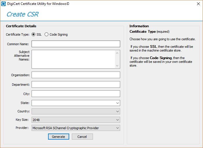 Digicert Certificate Utility Csr Generation Ssl Installation