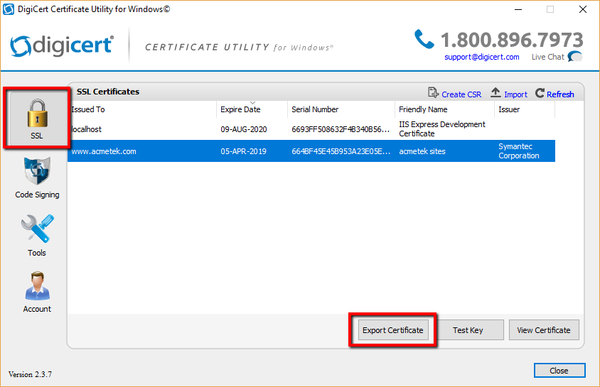 Digicert Certificate Utility Ssl Export Instructions Pfx Or Pem