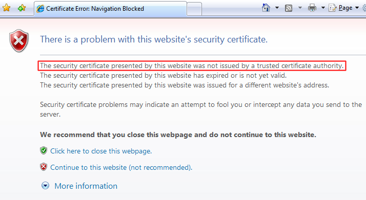 The security certificate presented by this website was not issued by a trusted certificate authority