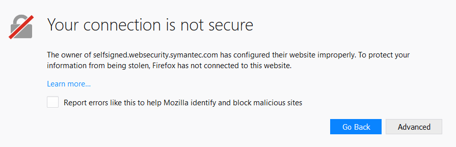 The owner of selfsigned.websecurity.symantec.com has configured their website improperly. To protect your information from being stolen, Firefox has not connected to this website.