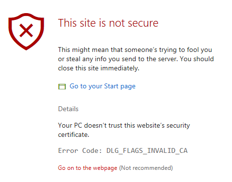 This site is not secure - Microsoft edge