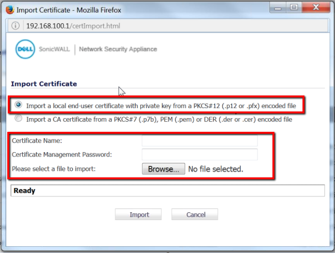 How To Move An SSL Certificate From Windows To Sonicwall NSA -