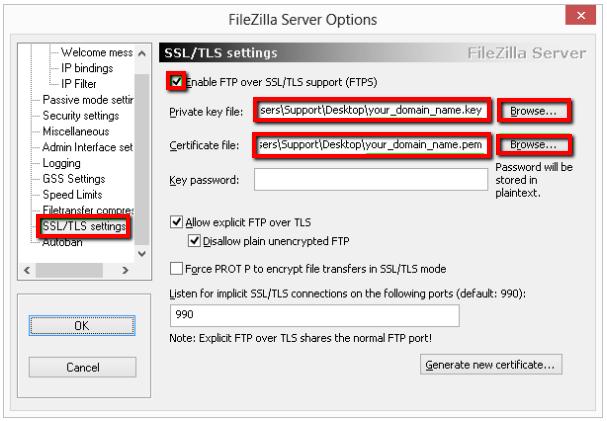 FileZilla - SSL Installation Using Digicert Certificate