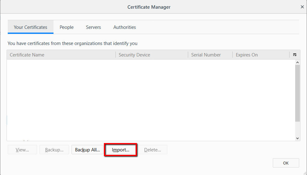 How to Import a Certificate into Firefox -